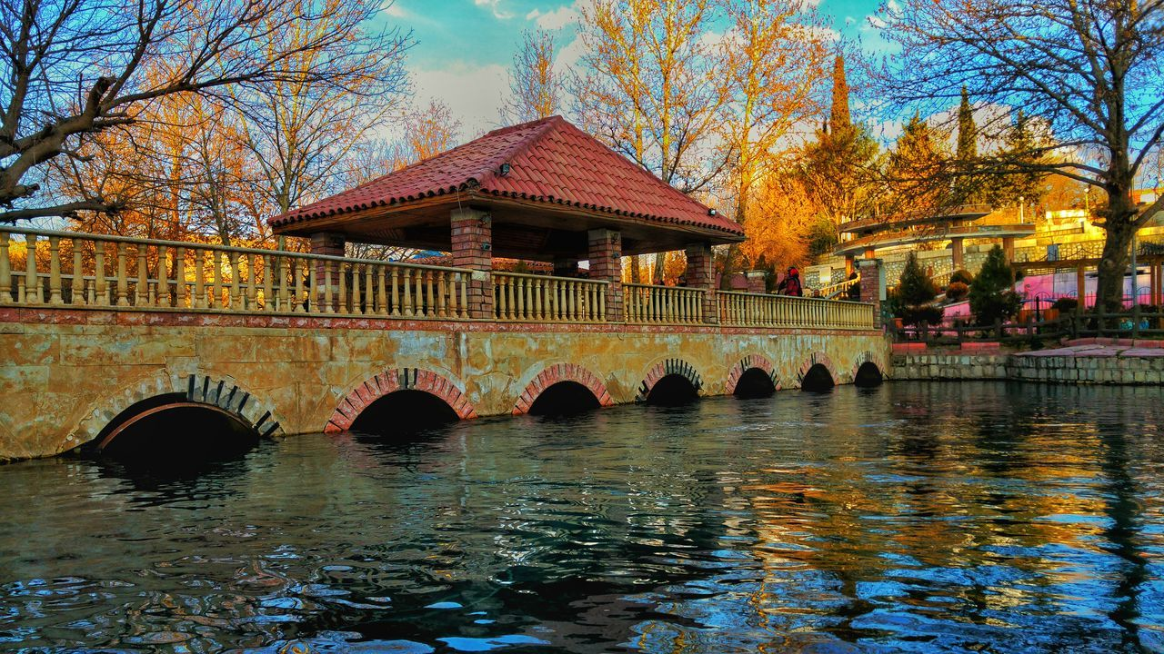 Gazebo On Bridge Over Canal