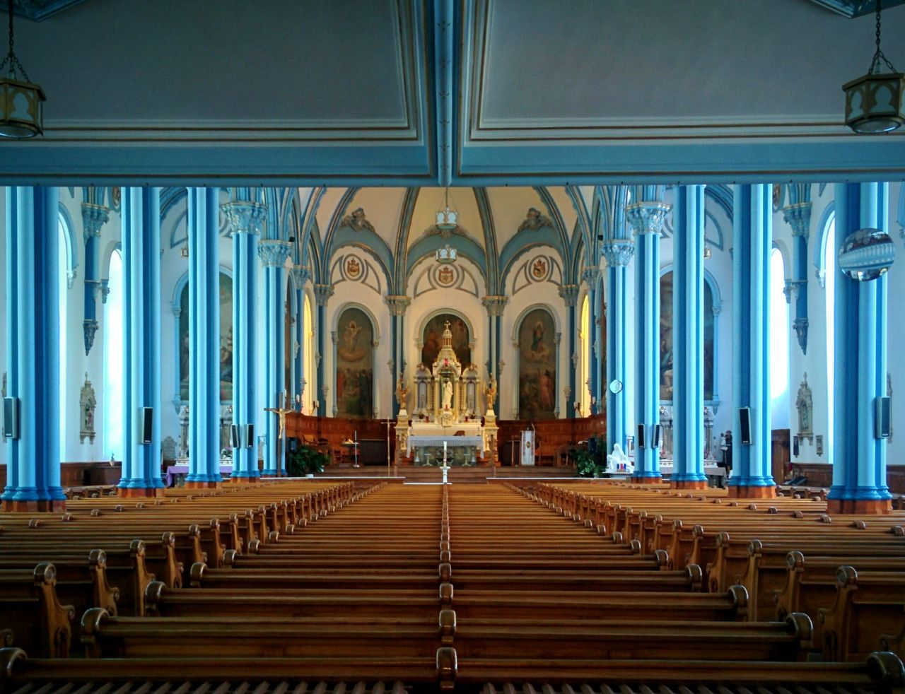place of worship, religion, spirituality, pew, indoors, day, no people, architecture