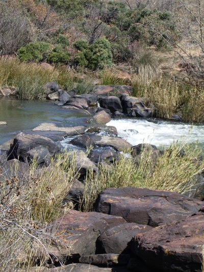 Flowing Water Grass Rock Formation Scenic Tranquil Scene Tranquility Water Over Rocks