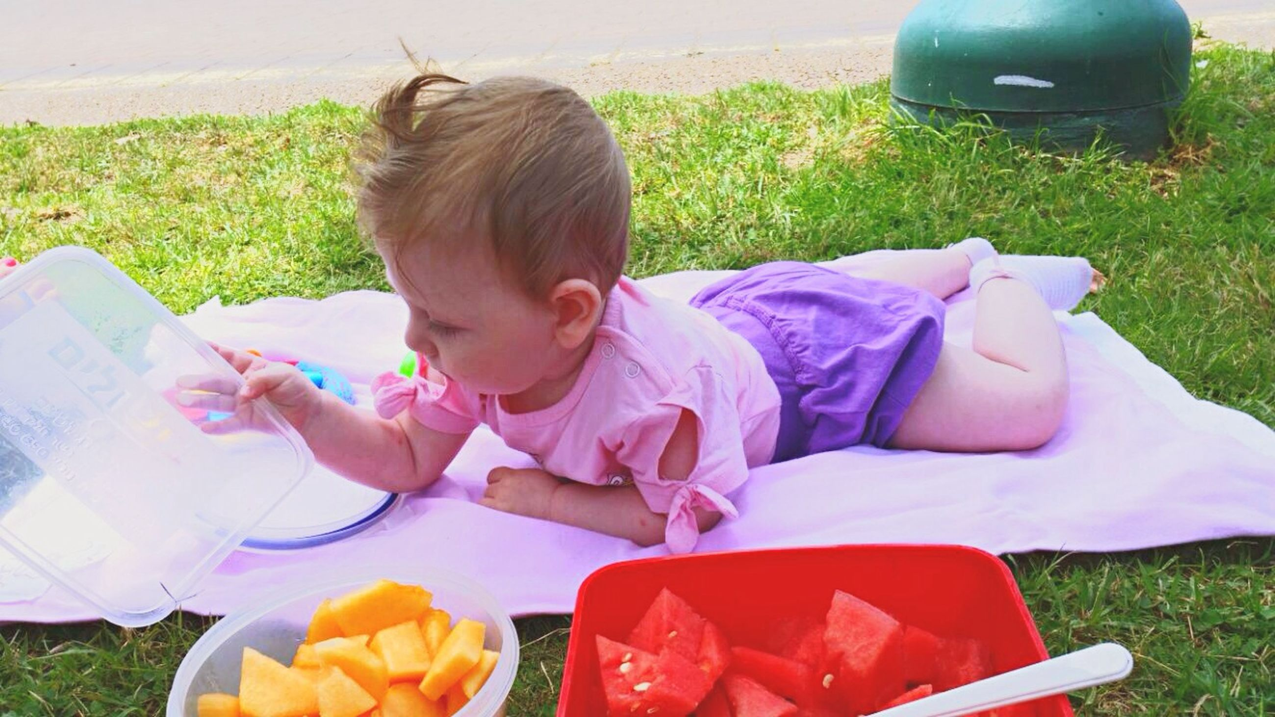 childhood, elementary age, innocence, cute, holding, girls, grass, person, leisure activity, high angle view, lifestyles, boys, food and drink, sitting, toy, casual clothing, freshness, toddler