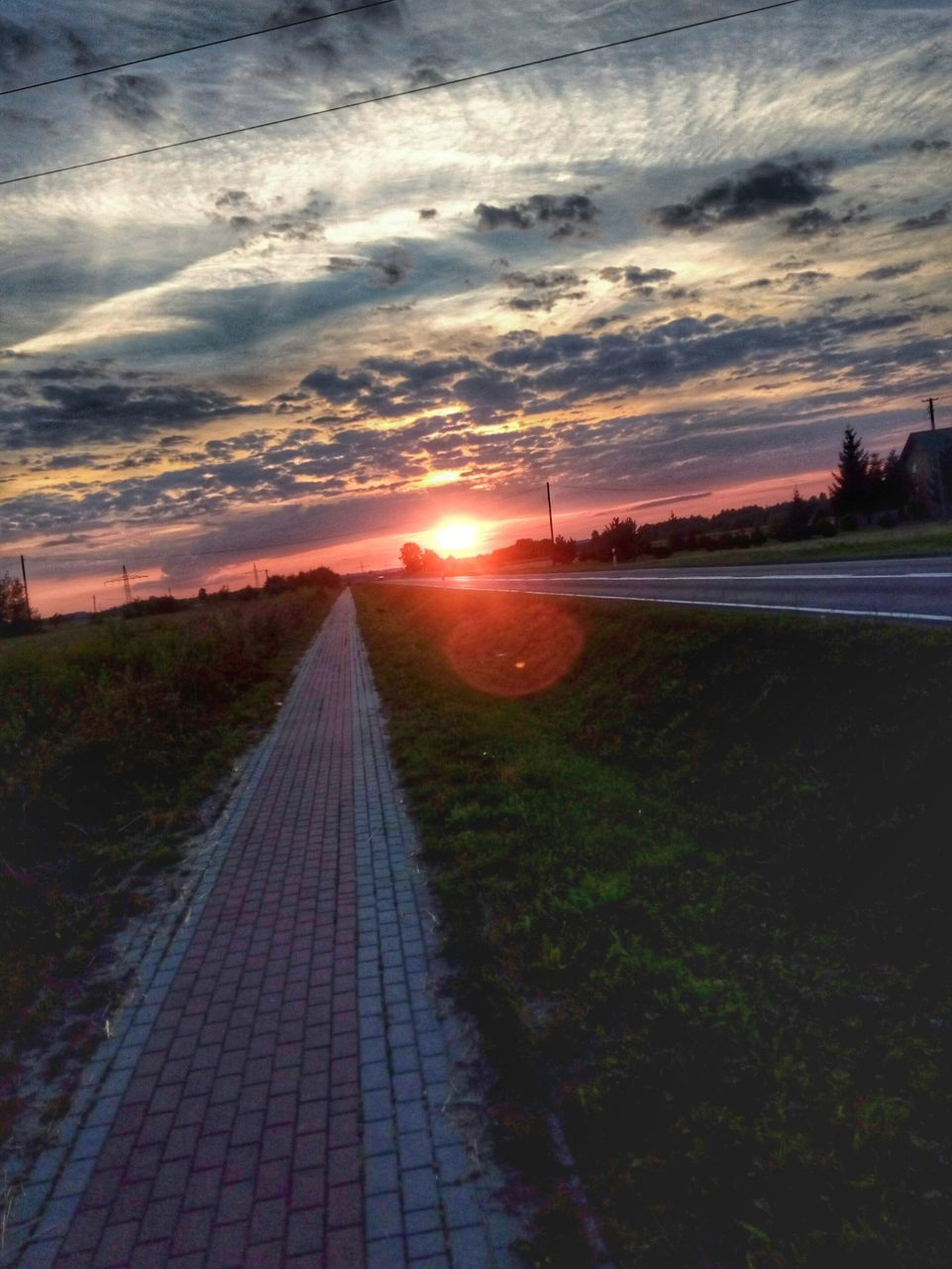sunset, sun, sky, the way forward, lens flare, nature, scenics, landscape, outdoors, no people, tranquility, beauty in nature, sunlight, day