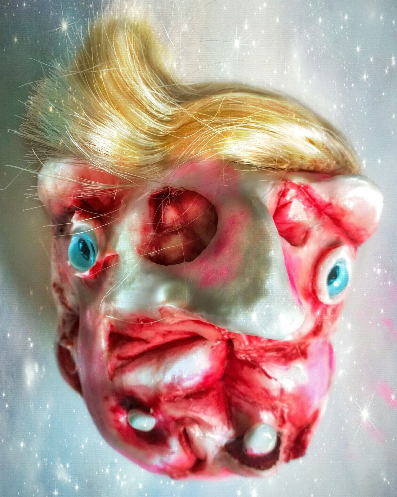 Sculptures Mixed Media Art Trump2016 Trump Painting Sculpture MixedmediaScary Dolls Human Face Paintings Getting In Touch Handmade Portrait Extreme Close-up Scary Face Horrorclown Dolls Head Scary Stuff  Man Made Object