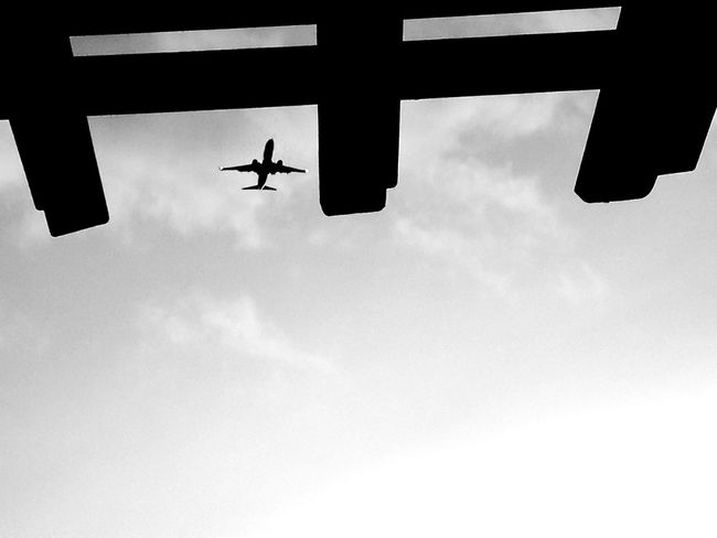 Flying Airplane Black And White Monochrome Photography