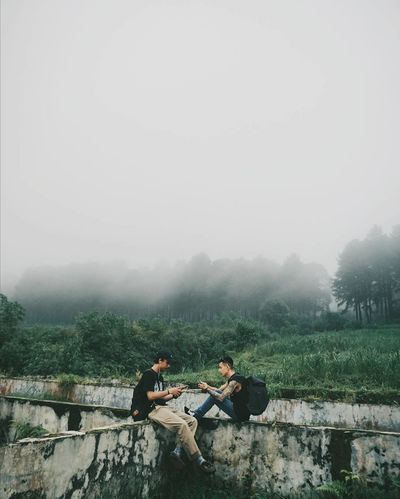 Nature Shades Of Winter Two People Togetherness Full Length People Adult Fog Outdoors Nature Young Adult Tree Day Friendship Men Sky Fashion Stories EyeEmNewHere
