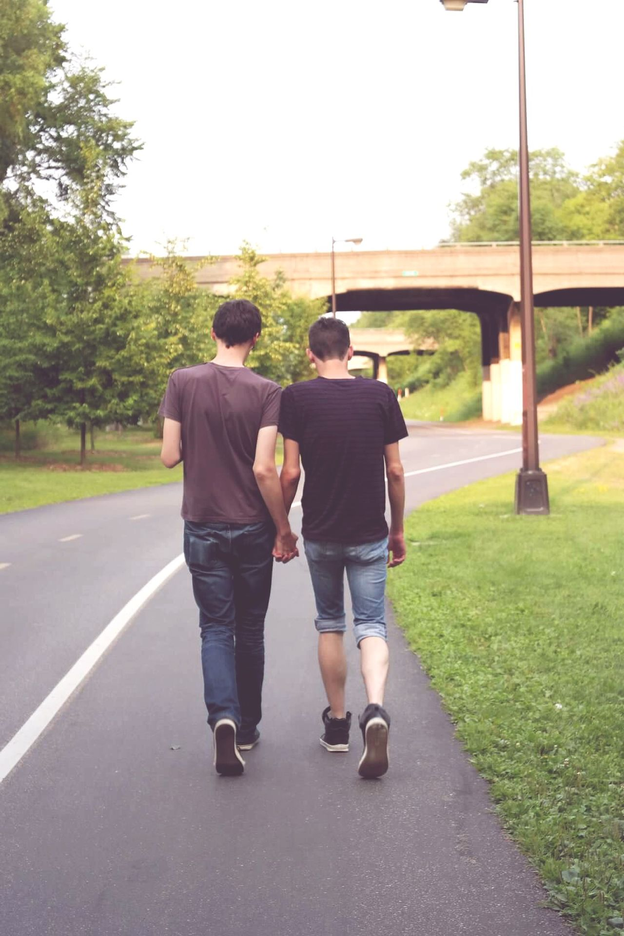 Beautiful stock photos of gay, Bonding, Bridge - Man Made Structure, Casual Clothing, Couple - Relationship