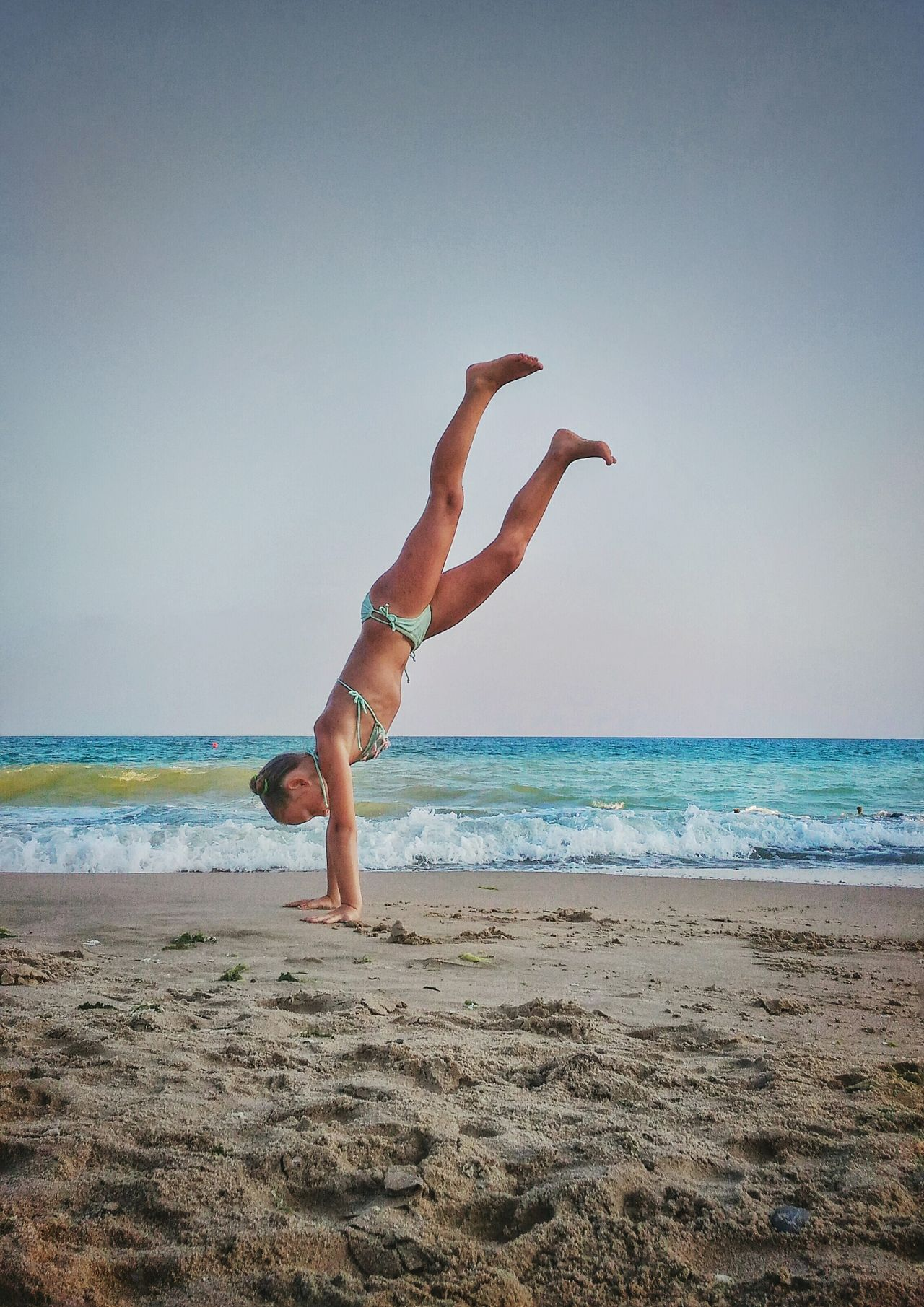 Sea And Sky Sea Beach Beachphotography Girl Gymnastics Seaside Summer Upside Down Upsidedown