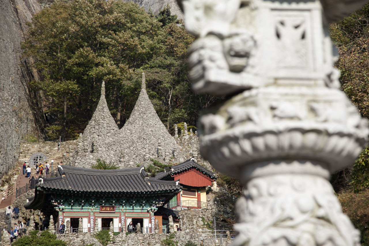 Tapsa, a Buddhism Temple in Maisan, Muan, Jeonbuk, South Korea Architecture Buddhism Building Exterior Built Structure Cemetery Day Maisan No People Outdoors Place Of Worship Religion Sculpture Spirituality Statue Tapsa Temple Travel Destinations Tree
