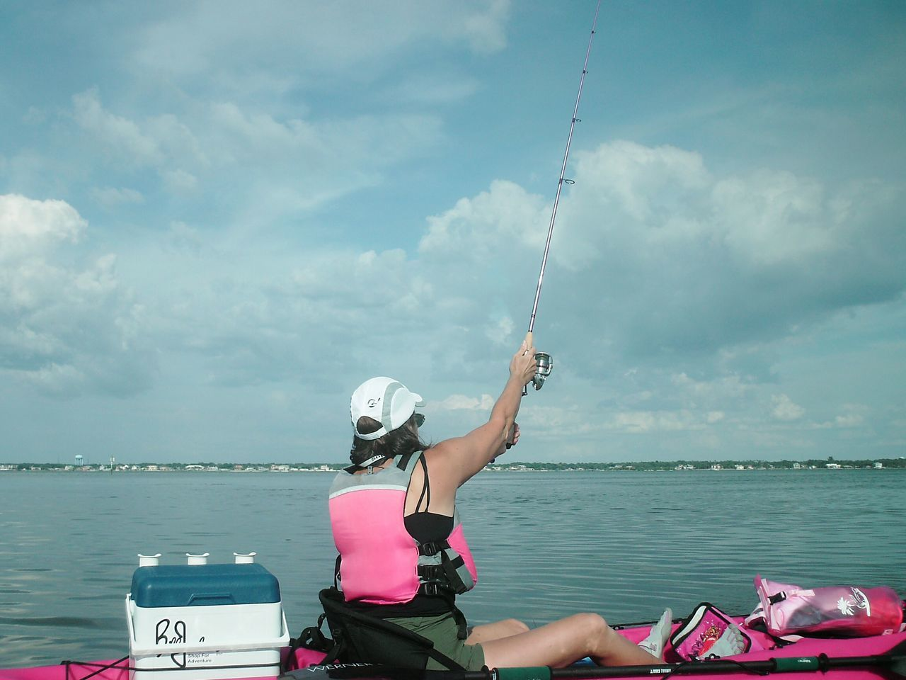 Kayak Fishing Kayaker Fishing Pink Female Adult Sportswoman Florida Life Fisherman Watersports Weekend Warrior Female Kayak Kayaking Weekend Activities Weekend Warriors Florida Fishing People
