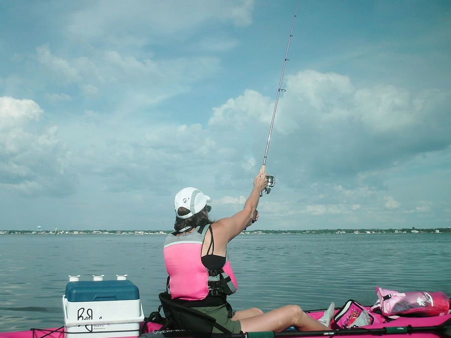 Kayak Fishing Kayaker Fishing Pink Female Adult Sportswoman Florida Life Fisherman Watersports Weekend Warrior Female Kayak Kayaking Weekend Activities Weekend Warriors Florida Fishing People Real People
