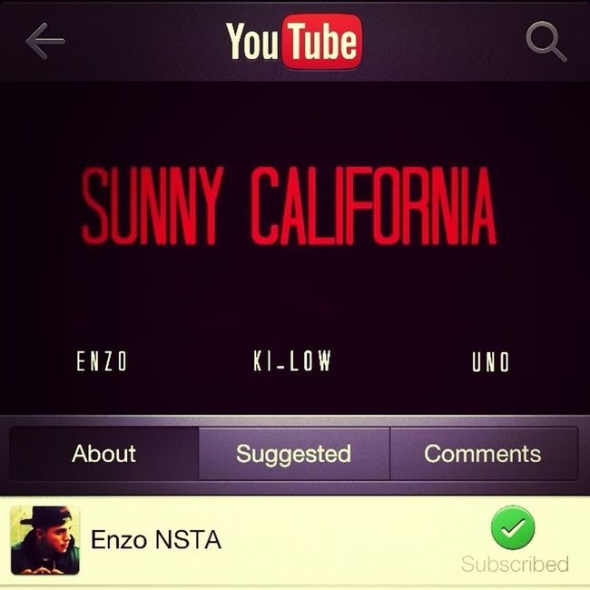 """Everyone Go Out And Check Out The Official Music Video On Youtube Called """"Sunny California-Enzo"""" Like And Subscribe!!"""