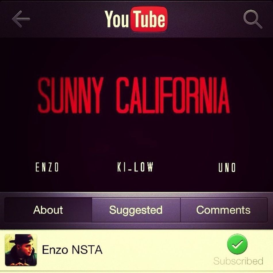 "Everyone Go Out And Check Out The Official Music Video On Youtube Called ""Sunny California-Enzo"" Like And Subscribe!!"