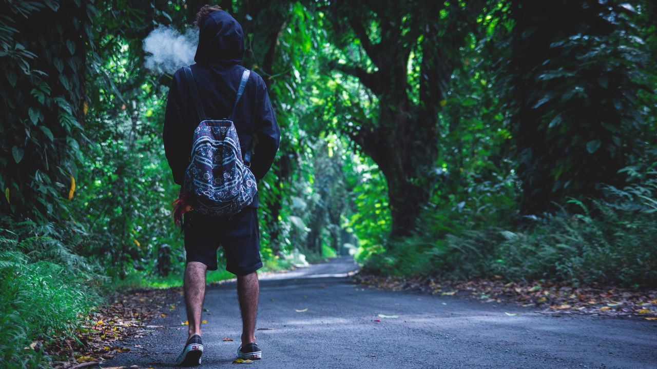 This jungle turned me into a monster😈 Red Road, Big Island, Hawaii.🌴 Red Road Big Island Big Island Hawaii Hawaii Smoking Smoke Thinking Walking Jungle Trees Path In Nature Path One Person Sadness Freedom Happiness Reaching Lonely Sad Boy Backpack Exploring Wondering Wonderlust Wonderland Magic Places