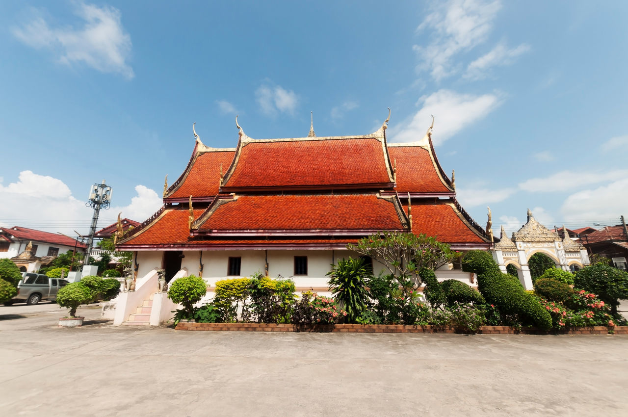 Architecture Blue Building Exterior Built Structure Chiang Khan Cloud - Sky Day History Horizontal No People Outdoors Red Roof Roof Tile Sky Temple Thai Temple Thailand Travel Travel Destinations