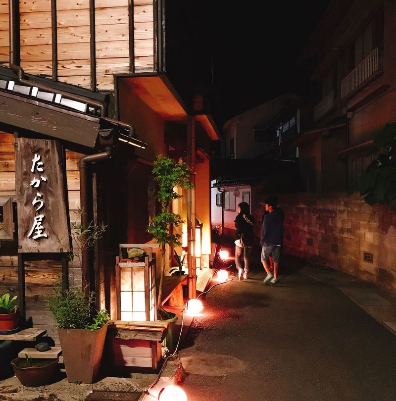 Building Exterior Architecture Built Structure Real People Night Men Full Length Two People Outdoors Women City Young Adult Adult People 吉岡 鳥取 温泉
