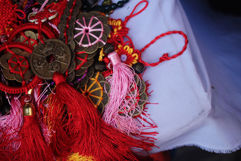 China Town Chinese Food Charms Chinese Culture Close-up Jewellery No People Red Religion Tussels