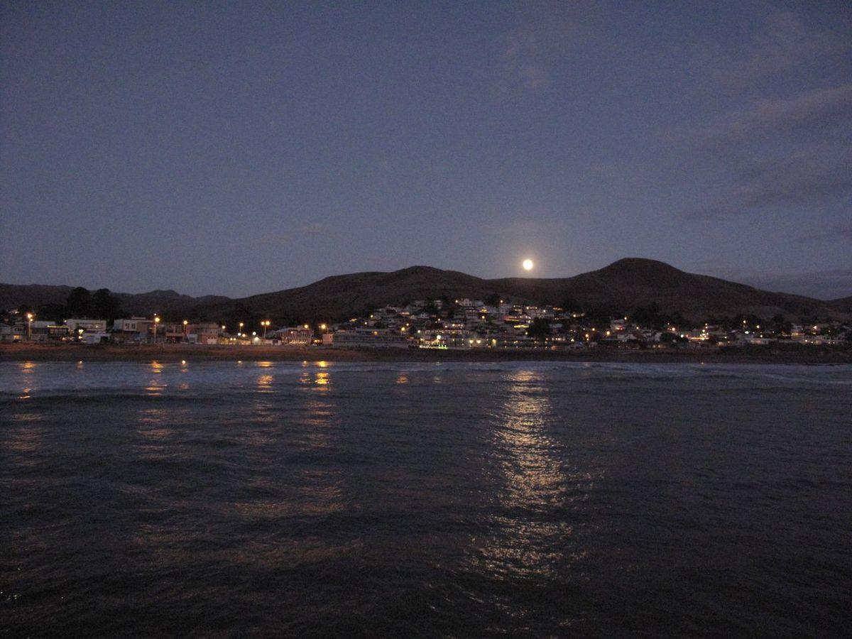 Cayucos Morro Bay Shoreline Moon Light City Lights Ocean Reflection Beach Beauty In Nature Nature