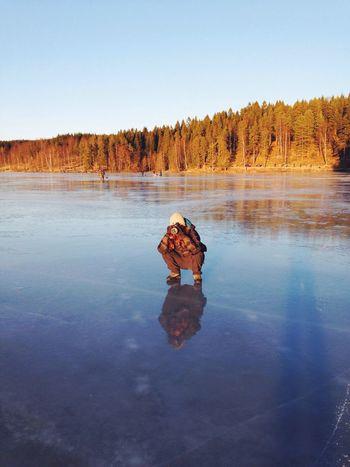 Portrait Of A Friend Enjoying The Sun on the Ice on the Frozen Lake of Sognsvann in Oslo Norway . EyeEm Best Shots Eye4photography  EyeEm Nature Lover