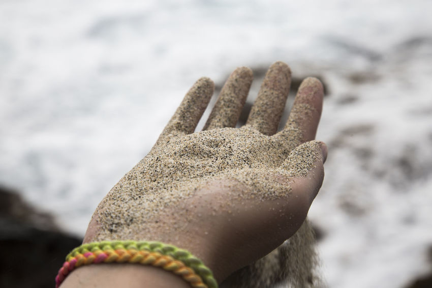 Sand trickle through fingers on beach Grain Of Sand Hawaii Indian Ocean Beach Caribbean Close-up Day Focus On Foreground Human Body Part Human Finger Human Hand Low Section Nature One Person Outdoors People Real People Rippled Sand Sandy Sandy Beach Shore Trickle Water Waves