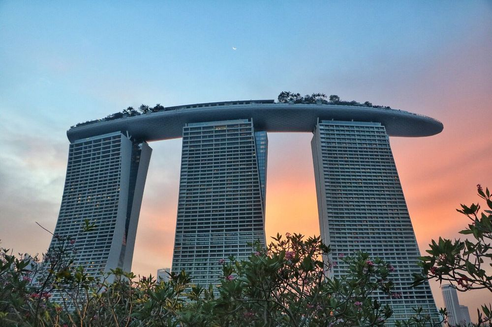 Architecture Tree Building Exterior Built Structure City Growth No People Outdoors Low Angle View Sky Skyscraper Day Nature The Purist (no Edit, No Filter) Adapted To The City Singapore View Travel Twilight Sky Moon Marina Bay Sands EyeEmNewHere Singapore Gardens By The Bay Sunset Growth Neighborhood Map