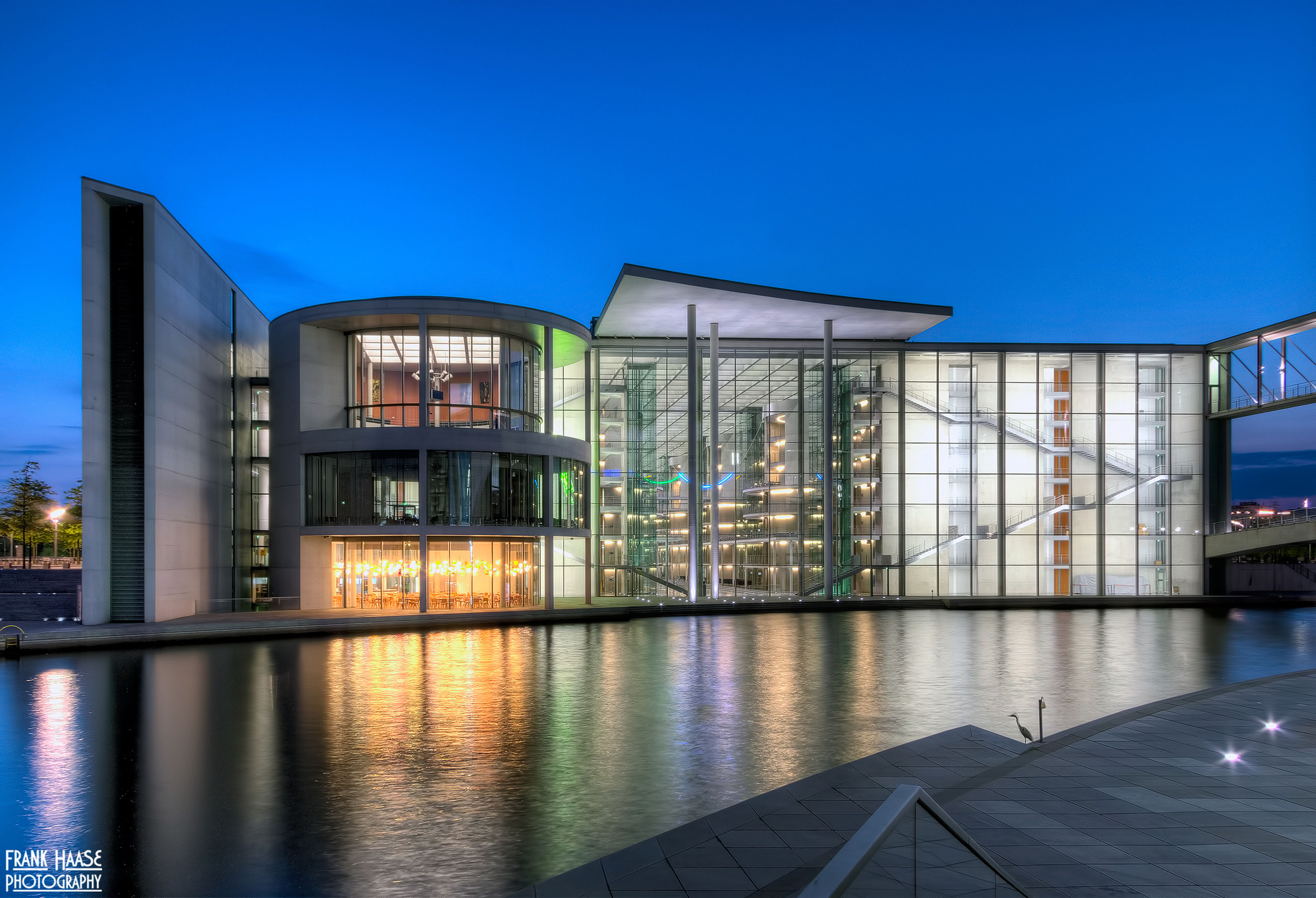 architecture, blue, reflection, built structure, building exterior, sky, clear sky, water, illuminated, no people, travel destinations, city, outdoors, modern, day