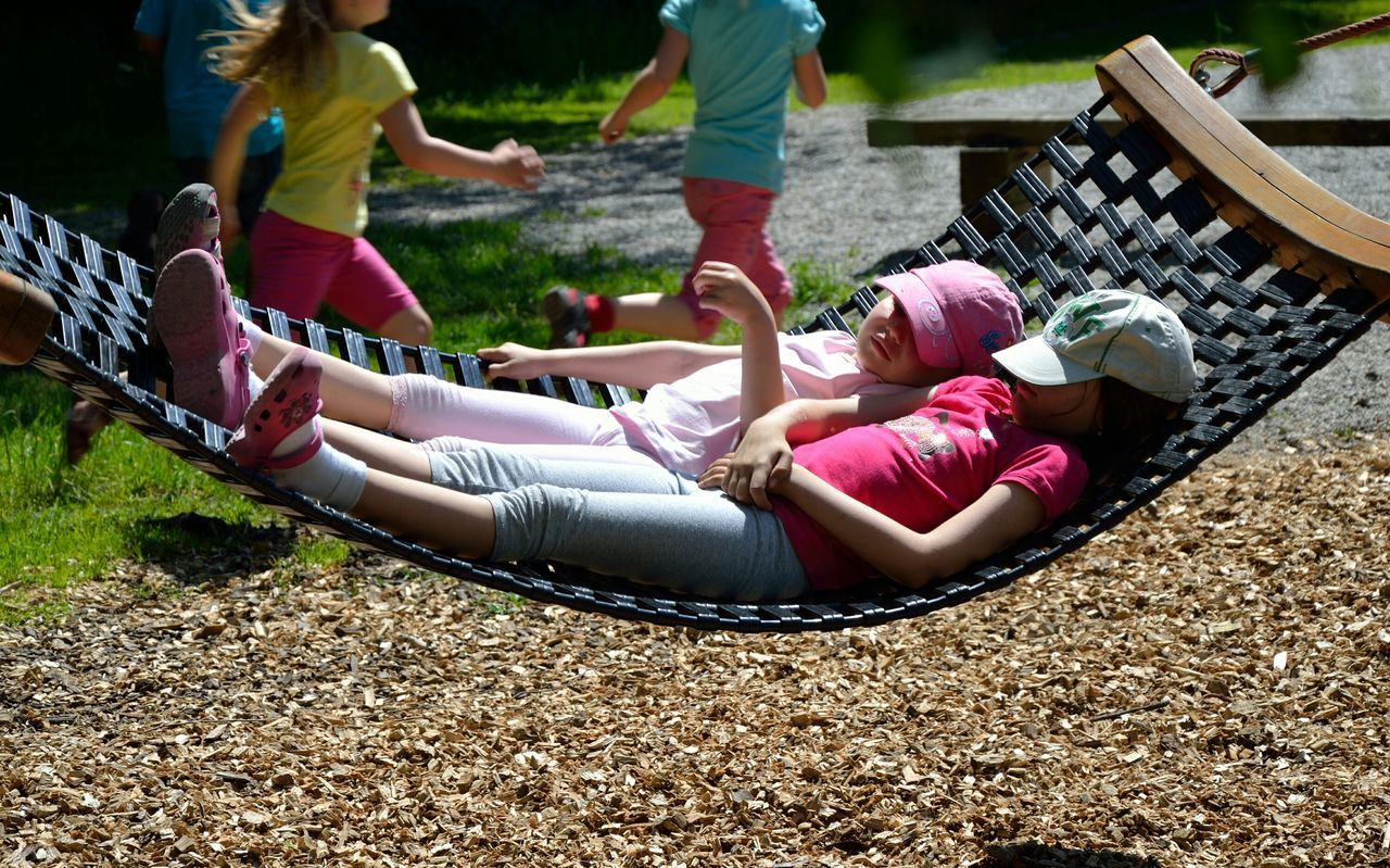 Time To Relax, Togetherness Sunlight People Outdoors Childhood Women Summer Leisure Activity Adult Bonding Playing Young Women Young Adult Day Grass Friendship Nature Low Section Adults Only Human Body Part Hammock Playground