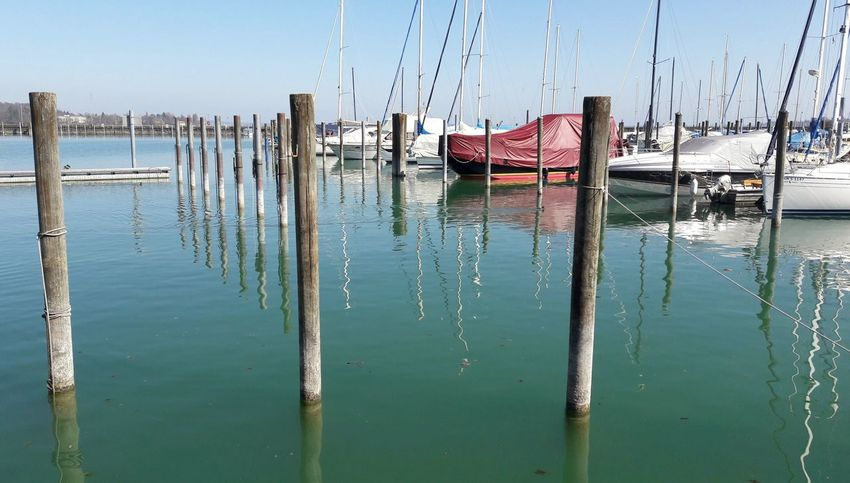 Harbour Harbour View Nautical Vessel Sailboat Bollards Reflection Sky Water Outdoors No People Lake Nature Lake Constance Marina Ropes Boats Holidays Konstanz Constance