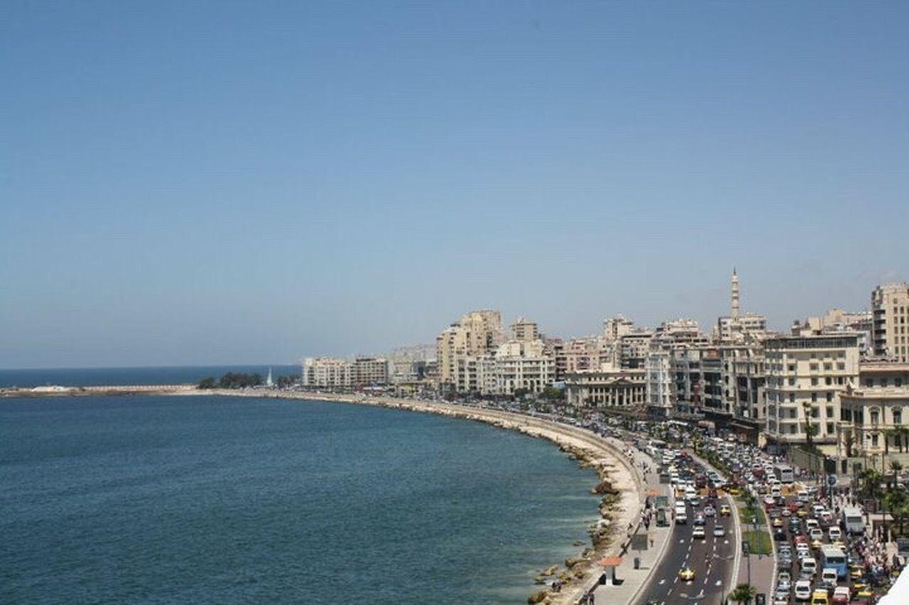 Alexandria, Egypt Mediterranean Sea. Sea Blue Cityscape Travel Destinations Outdoors Clear Sky Alexandria Egypt Mediterranean  Mediterranean Sea