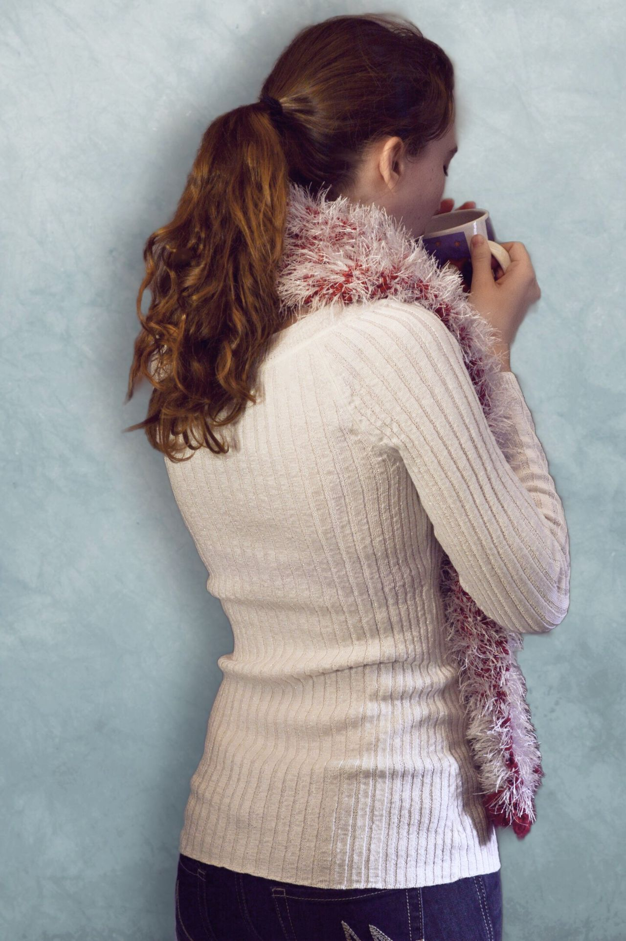 Enjoying coffee Rear View Real People Standing Sweater Lifestyles Beautiful Woman Beauty Women Young Women Indoors  Young Adult One Woman Only People Adults Only Only Women Adult Knitted  White Shirt Woman Portrait Woman Drinking Coffee Drinking Coffee Model Fashion Winter Fashion