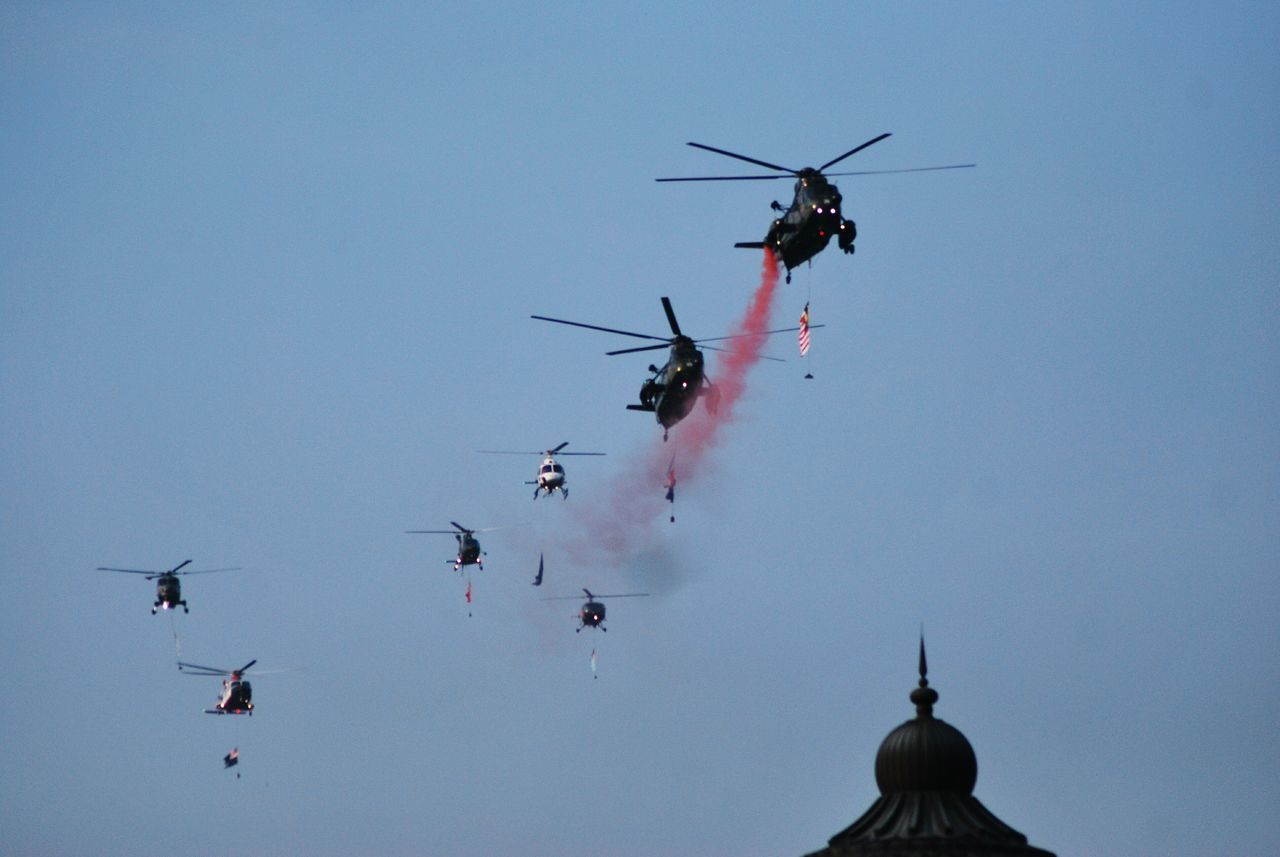 Smoke♥ Sky Holiday Society Helicopter 🚁 Helicopters Military Malaysia Anniversary Flag Celebration Skyblue Helicopter Smoke Showcase July Festival Season