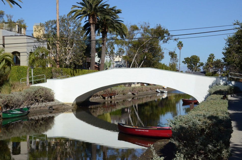 Architecture Bridge Bridge - Man Made Structure Built Structure Canal Day Outdoors Red Boat Venice Canals, CA Water Water Reflections