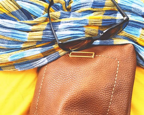 Clothing Textile Close-up No People Cloth Indoors  Day Travel Modern Mode Colors Blu Yallow Hand Bags Brawn Schal Sunglasses Reisen <3 Women Accesories Finding New Frontiers