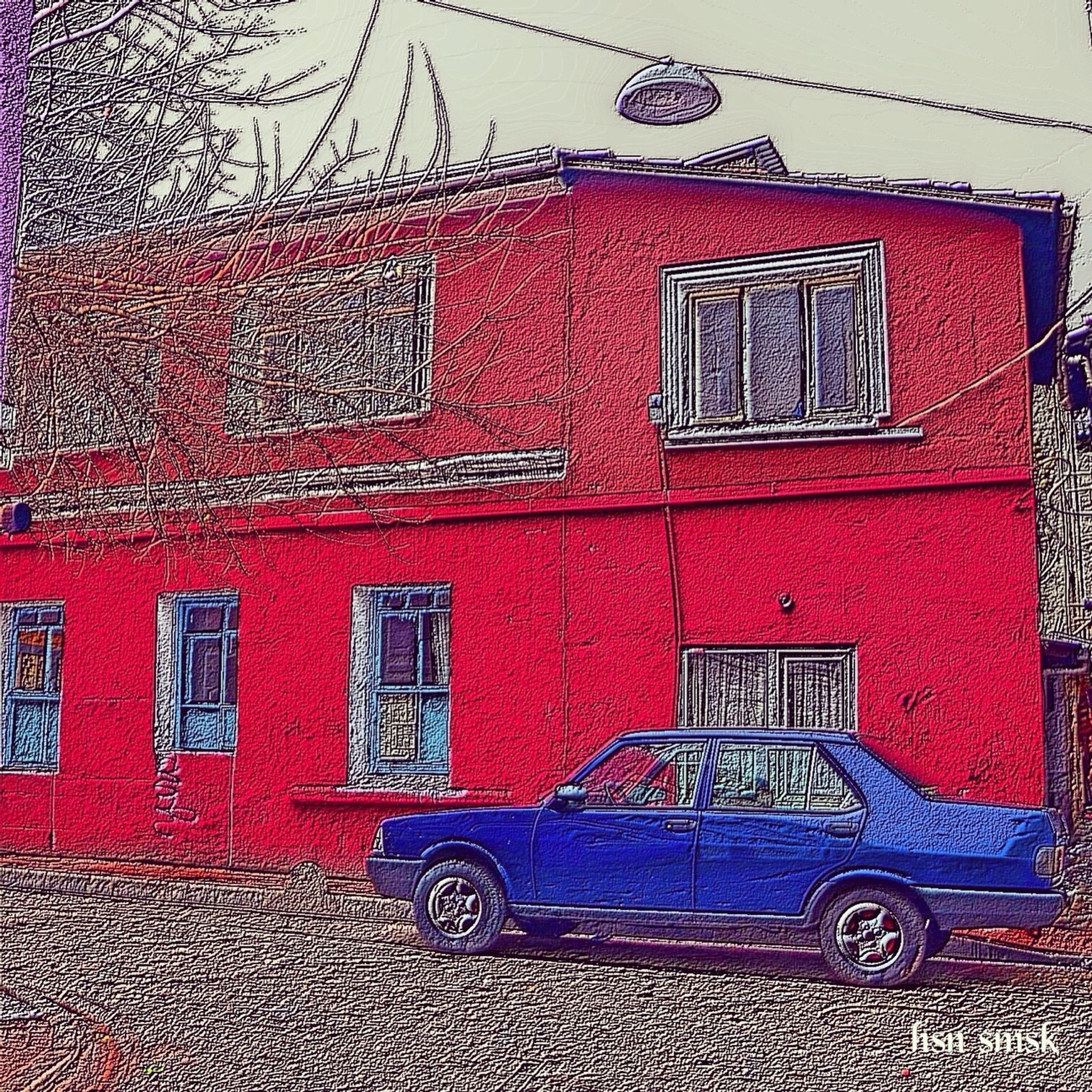 building exterior, architecture, red, built structure, window, house, brick wall, residential structure, wall - building feature, day, outdoors, residential building, no people, wall, building, cobblestone, closed, clear sky, door, facade