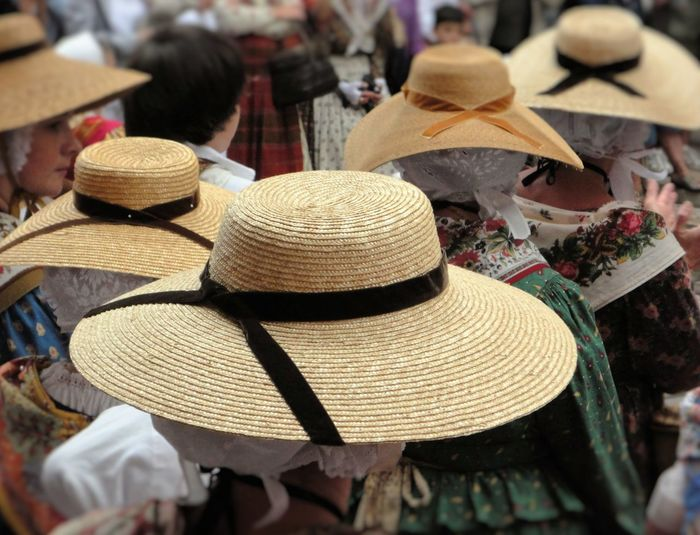 Back Back View Close-up Feast Festival Hat Hats Large Group Of Objects Looking To The Other Side Provence Rear View Saint Tropez Selective Focus Village Life Women Yellow Hats Raffia Hats Hat
