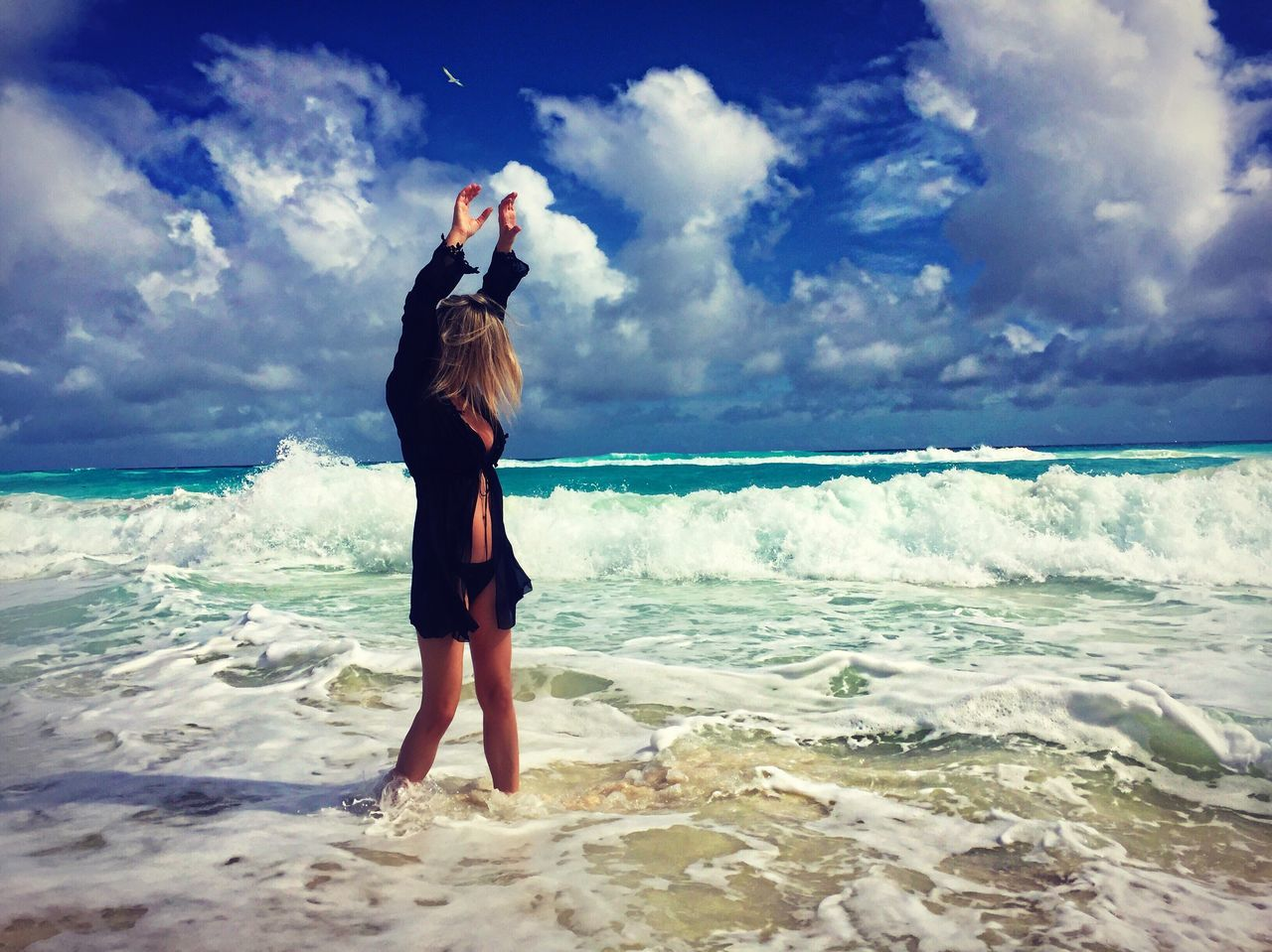 Mexico Cancun Atlantic Ocean Yucatan Mexico Storm Cloud Storm Adventure Sea Ocean Full Length Water Beach Sky Nature Standing Beauty In Nature Vacations Scenics Women Horizon Over Water Wave Travel Energy Determination Vacations