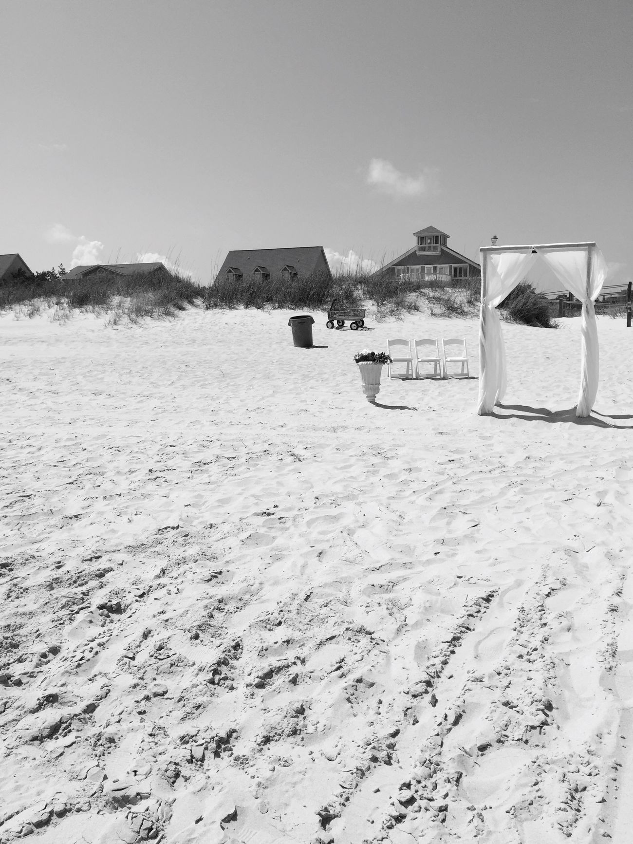 Dearly Beloved. Sand Beach Built Structure Day Outdoors Sky Wedding Sandy Blackandwhite Photography Setting Chairs View Beachlife Beach Time Oceanside