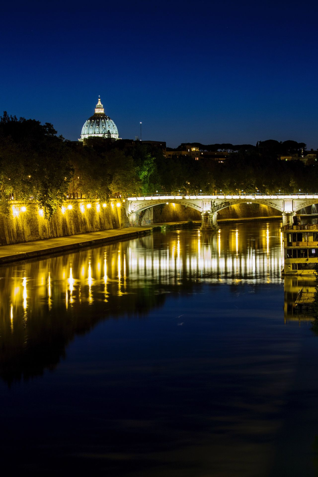 Architecture Built Structure Illuminated Night Building Exterior Reflection Water Travel Destinations Place Of Worship Religion Waterfront Dome Spirituality Clear Sky No People Outdoors Sky Nature SanPietro Rome Place Of Heart