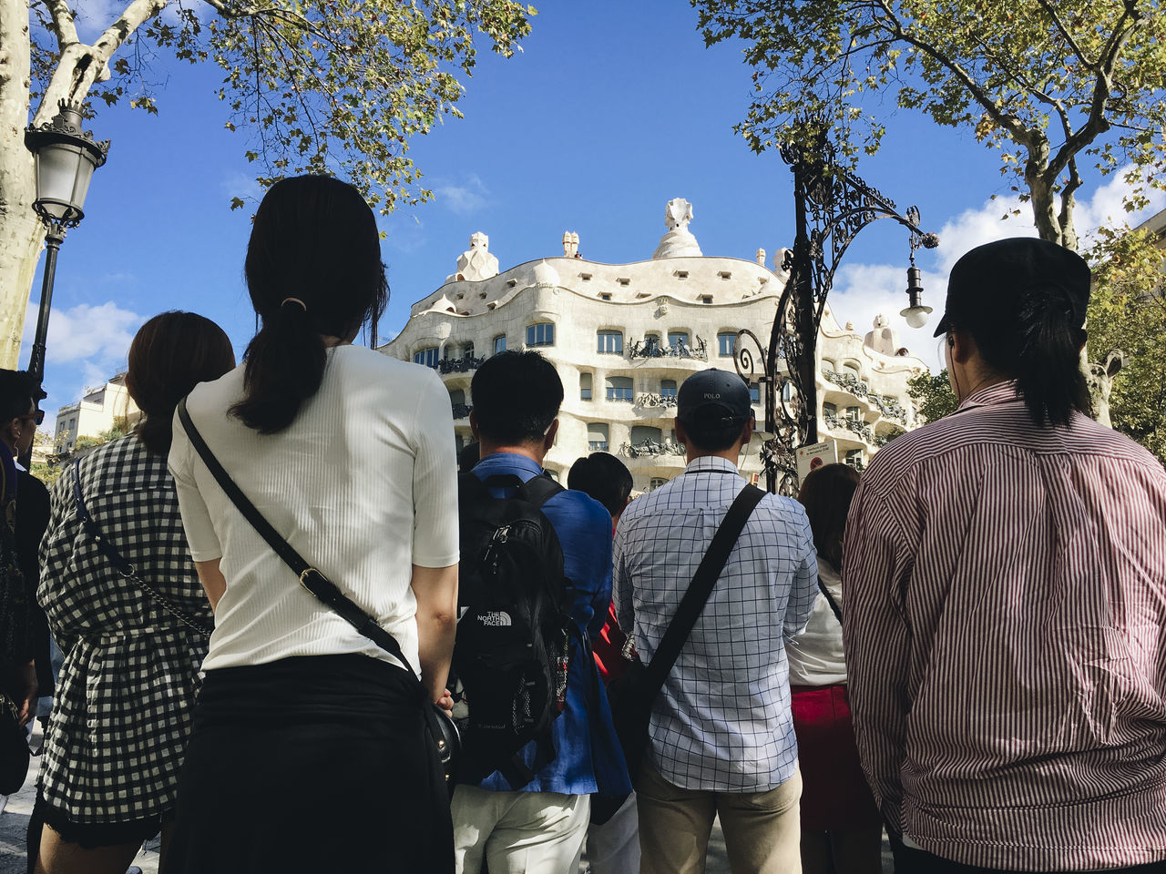 Adult Barcelona City Day Eixample District Gaudi Men Outdoors People Real People Rear View Sky Spirituality Women