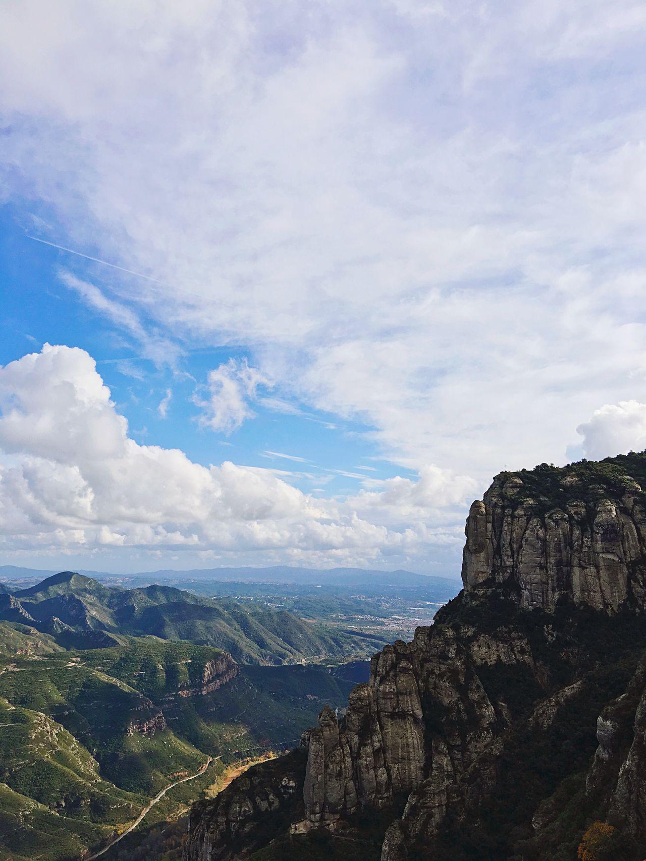Sky Landscape Nature Mountain Scenics Beauty In Nature Day Outdoors EyeEm ShotOnIphone IPhoneography Shotoniphone6splus Travel Wanderlust SPAIN España Montserrat Mountain Range Monastery
