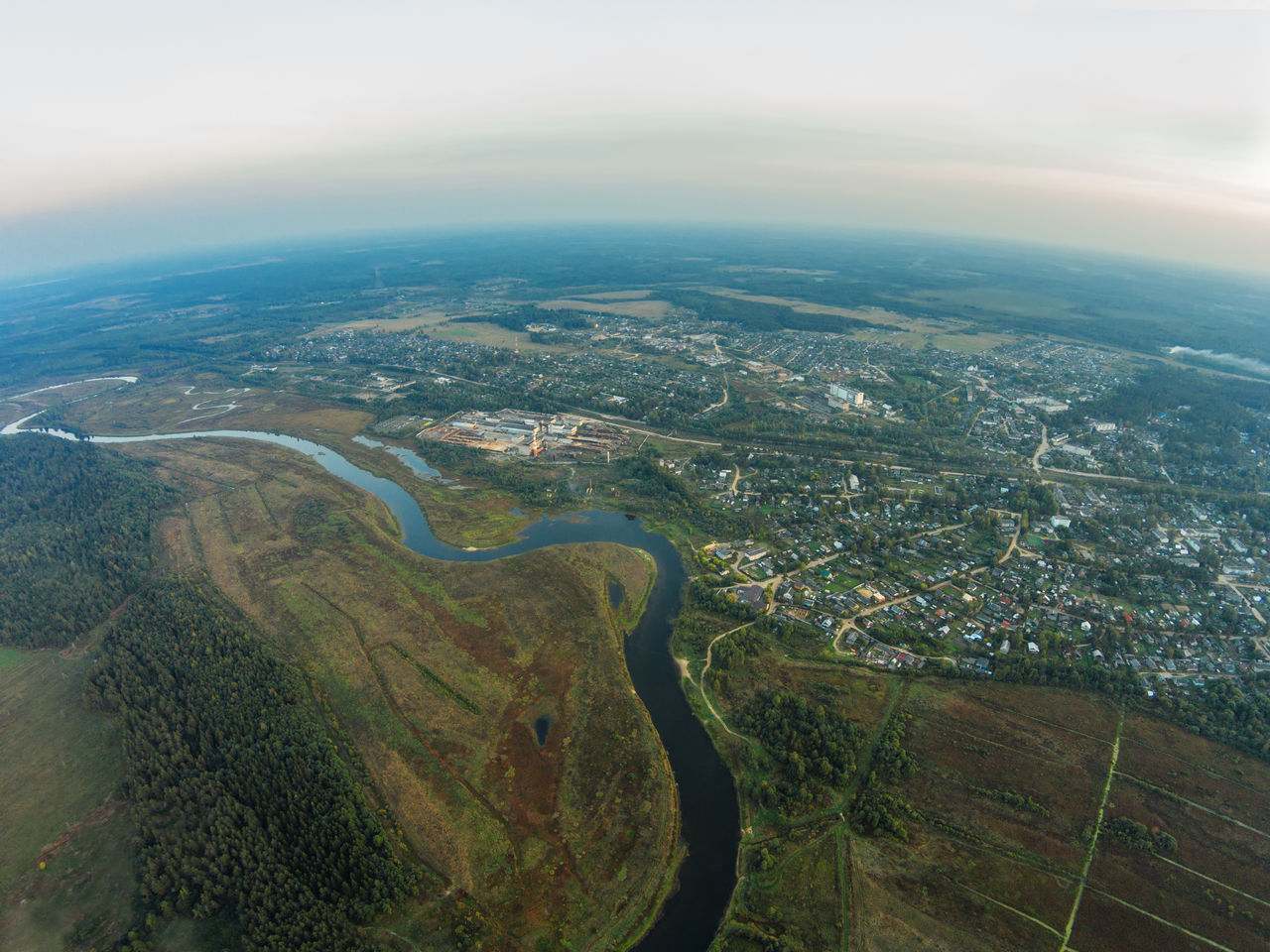 The view from the height of the river Mologa and town Maksatikha. A Bird's Eye View Aerial View Beauty In Nature City Countryside Day Dji Dji Phantom High Angle View Landscape Mologa Nature Nature No People Outdoors River Scenics Sky And Clouds Top Perspective