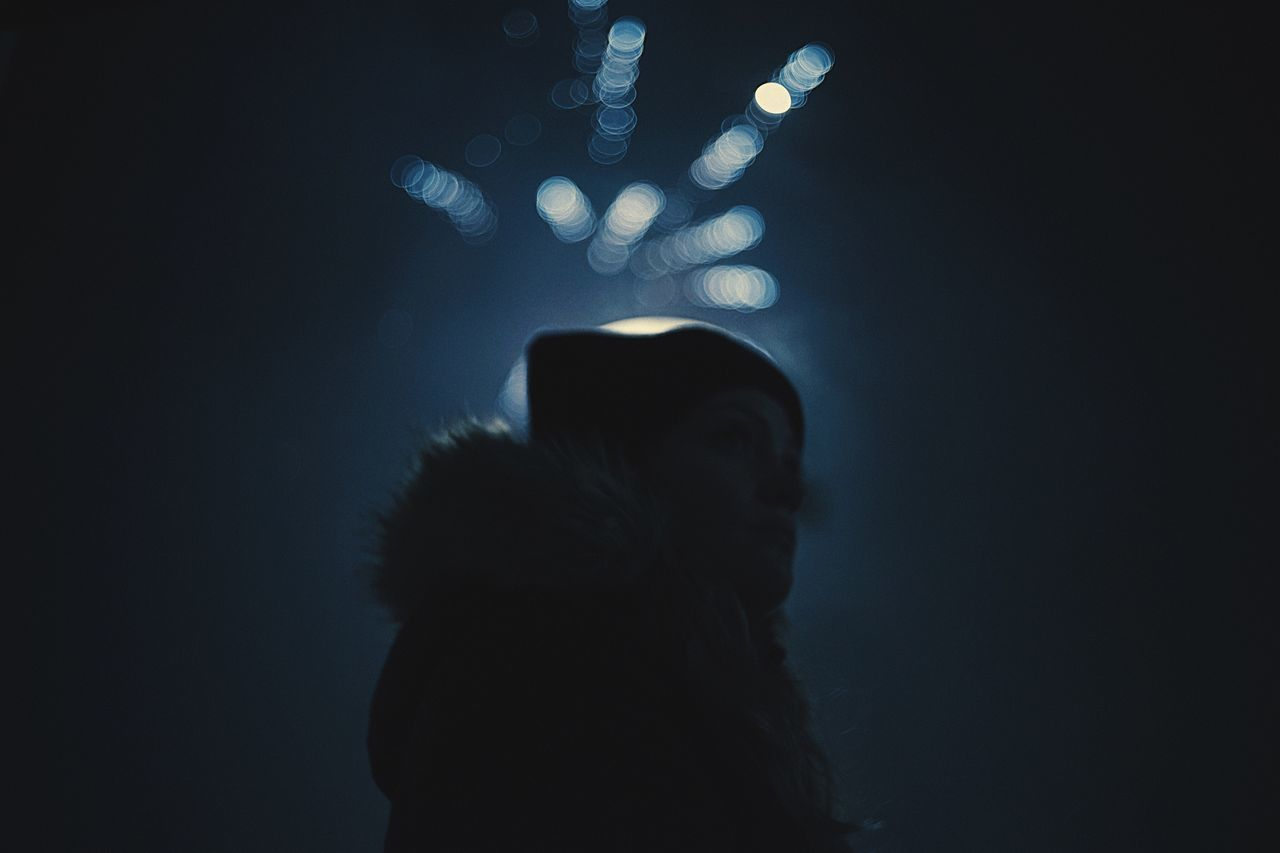 2017 One Person Lifestyles Night Silhouette Illuminated Sky New Year Silvester Bokeh Portrait Dark Darkness And Light The Week Of Eyeem Finding New Frontiers The Week On EyeEm Girl Woman Start Year 2017 Nightphotography