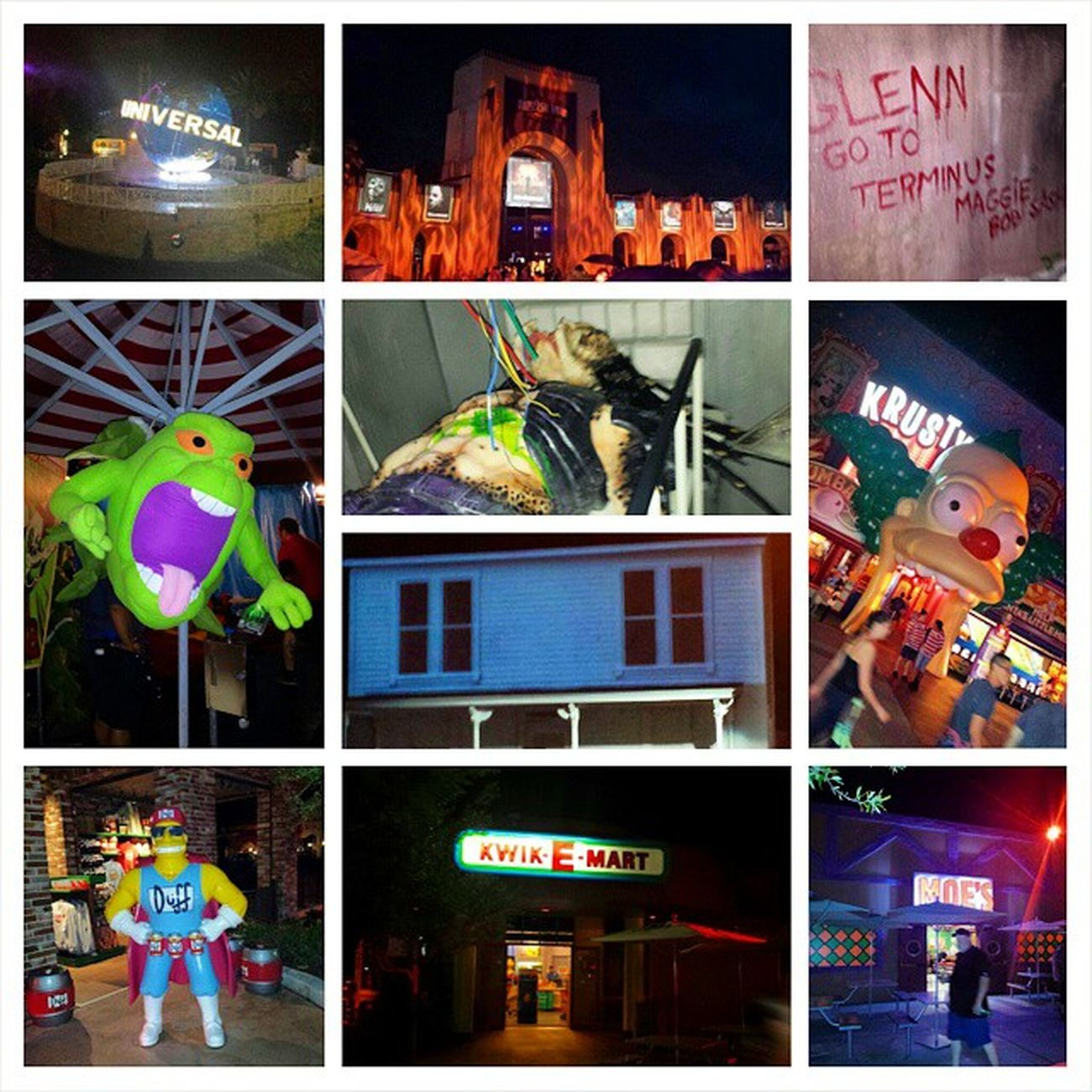 Had a blast at Universalstudios Orlando Florida Fl Halloweenhorrornight Hhn Hhn24 was able to go Friday and Saturday stood in some long line but got Scared Thewalkingdead Slimmer Ghostbusters Alien Predator Alienvspredator Halloween Michaelmyers TheSimpsons Krusty Duffman