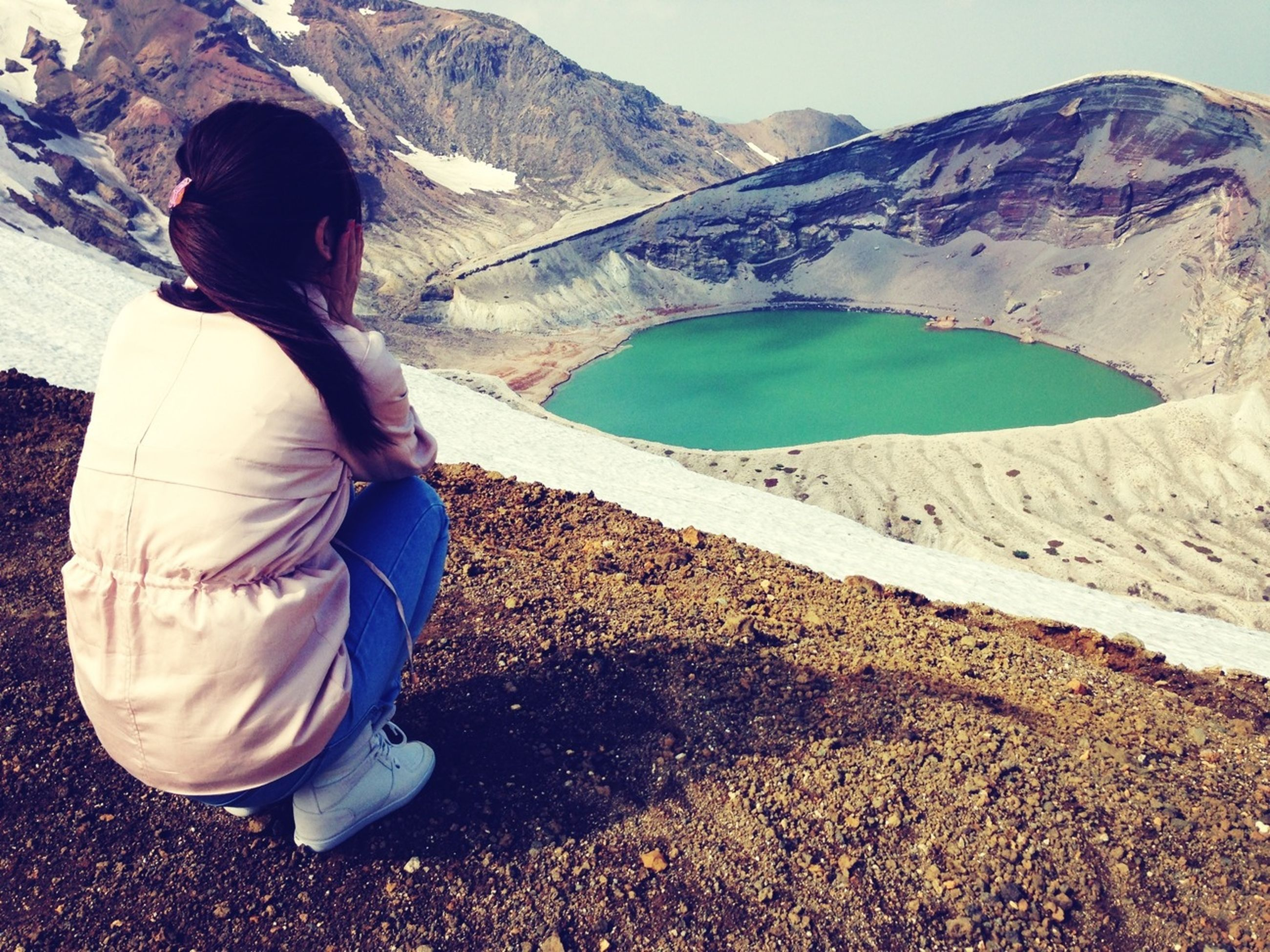 mountain, lifestyles, leisure activity, mountain range, casual clothing, full length, standing, landscape, young adult, rear view, tranquility, tranquil scene, person, nature, vacations, day, scenics