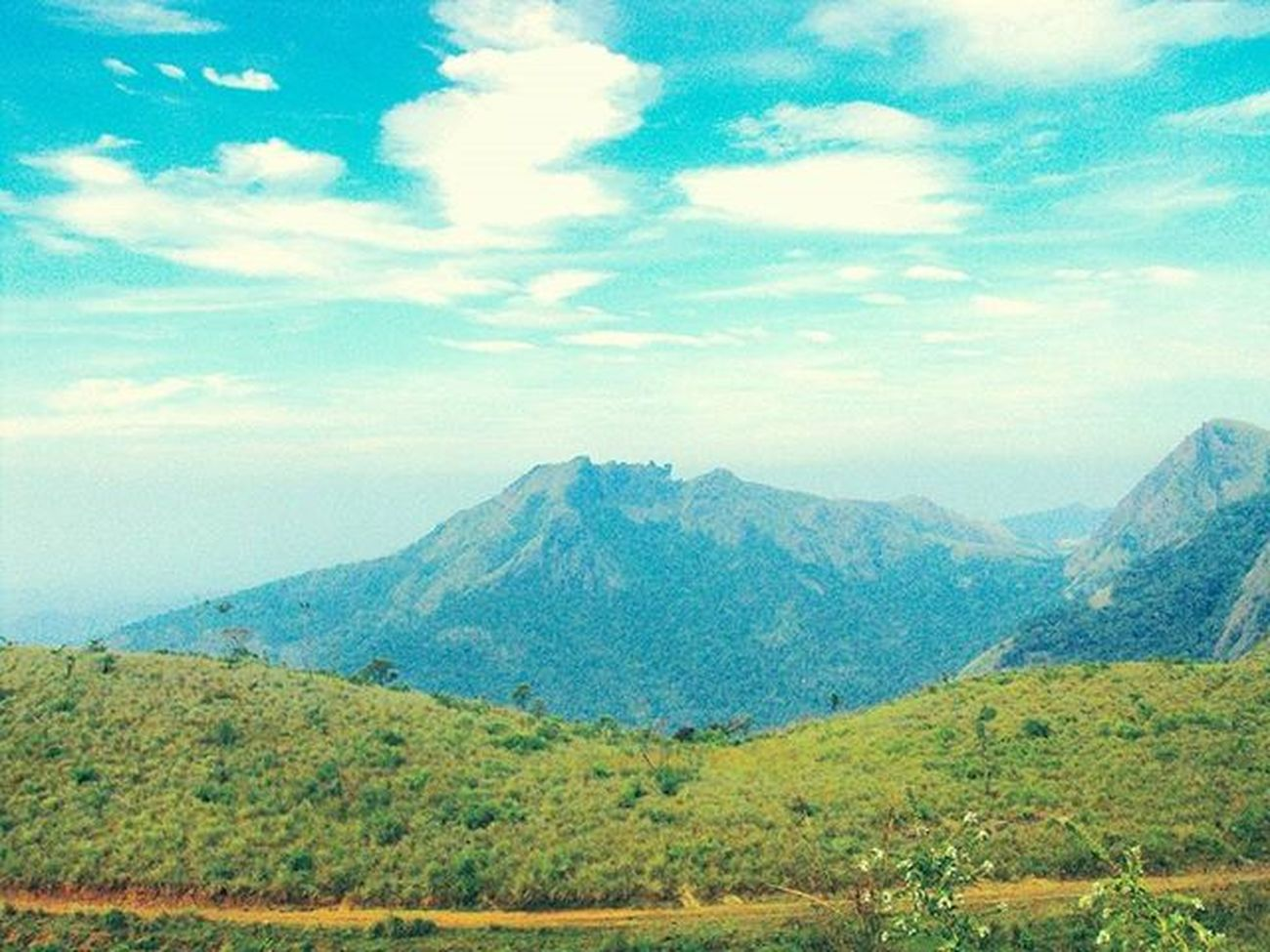 Beautiful view!!!😍😍😍 Vagamon Awesome View Beautiful Scenery Love Travel Amazing Place Best  Trip Kottayam Kerala GodsOwnCountry India Good Day Morning Trekking Bike Ride Nature Green Grass Blue sky white clouds friends memories