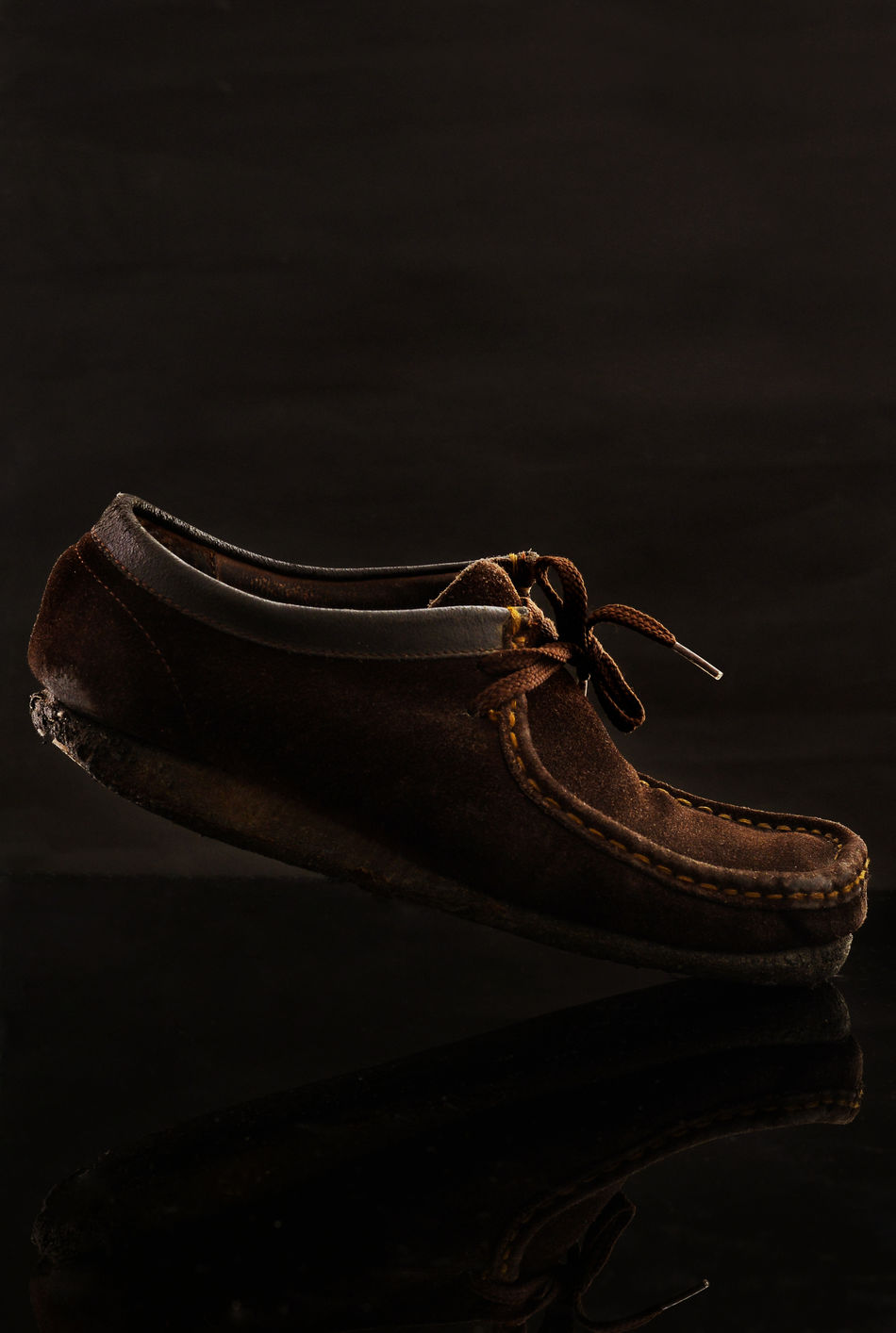 Black Background Brown Leather Shoes Shoes