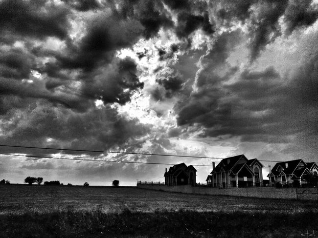 Blackandwhite Clouds And Sky On The Road Monochrome