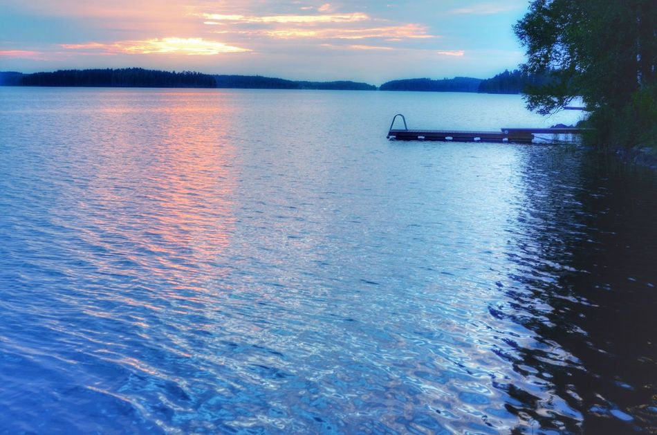Finnish Sunset Blue Blue Sky Blue Wave Relaxing Taking Photos Lake View Sundown At The Lake Finland Sunset_collection
