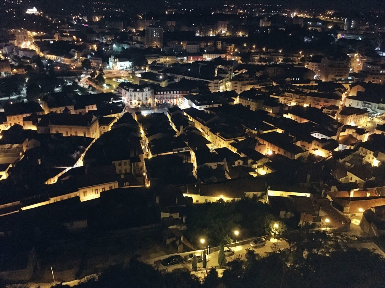 A Bird's Eye View Illuminated Night Cityscape City Residential District Building Exterior Leiria Portugal