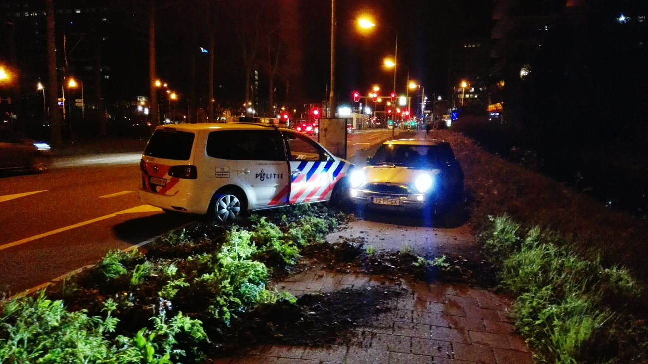 Photos from our vacation are coming soon. This was last night in Rijswijk. A stolen car was pushed of the road by a cop car. Taking Photos Check This Out On The Road Rijswijk