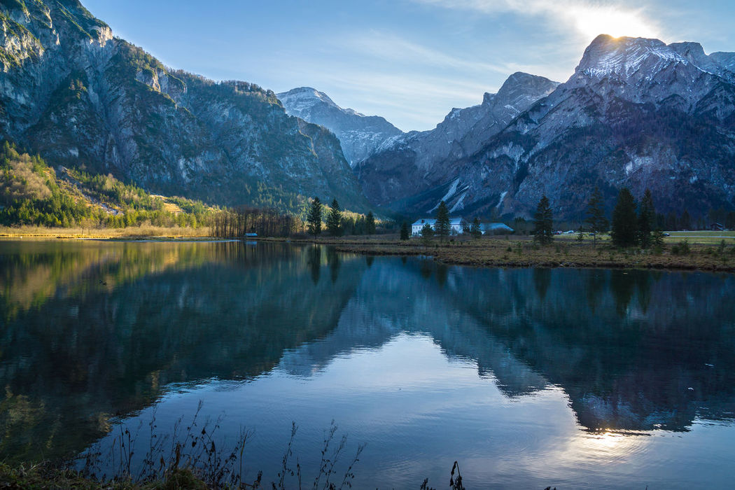Almsee - Grünau Austria Beauty In Nature Cold Temperature Day Grünau Im Almatal Idyllic Lake Landschaft Mountain Mountain Range Nature No People Outdoors Reflection Scenics Sky Snow Tranquil Scene Tranquility Tree Water Waterfront Winter