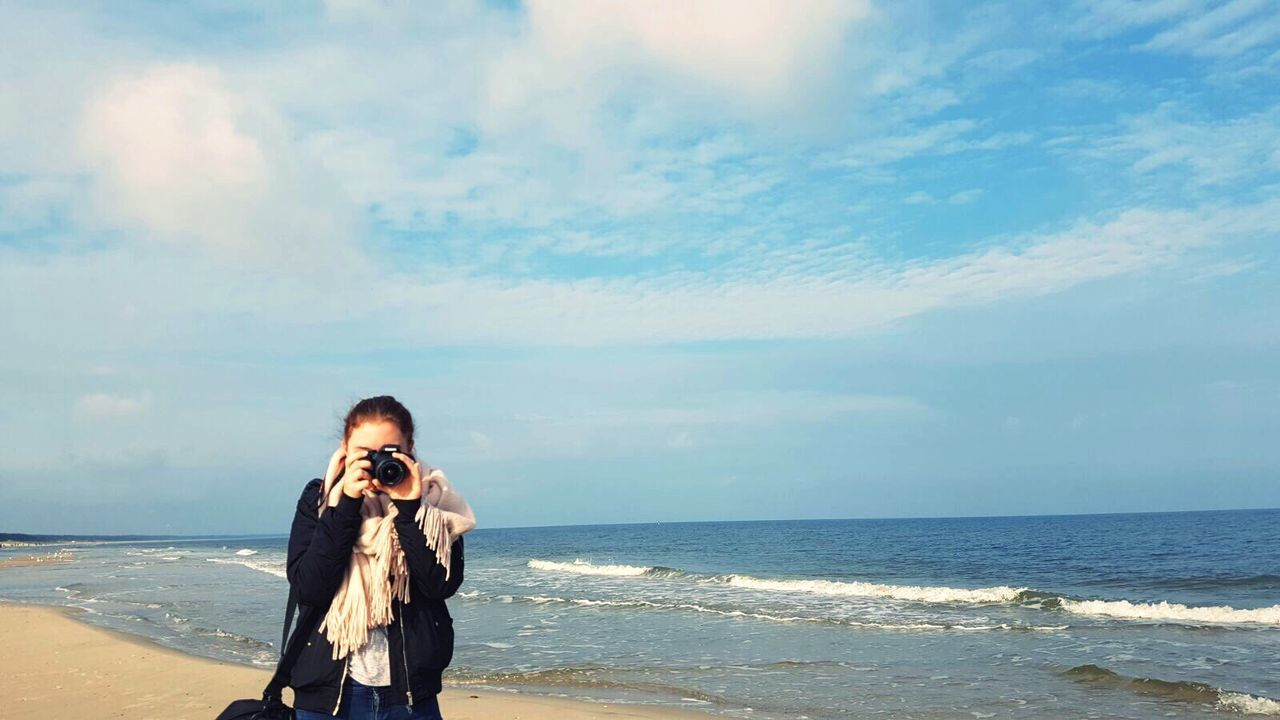 Baltic Sea Beach Photographing Sky Horizon Over Water Happiness Sea Cloud - Sky One Woman Only Real People One Person Day Photography Themes